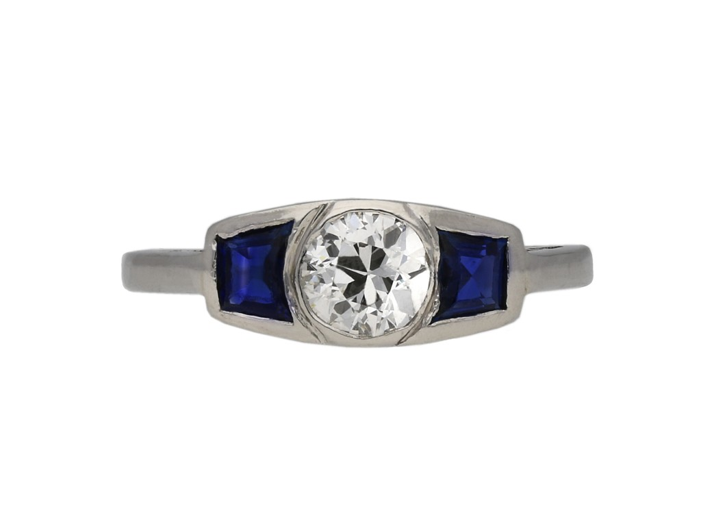 Art Deco diamond sapphire three stone ring berganza hatton garden