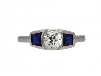 Art Deco diamond sapphire three stone ring berganza hatton garden