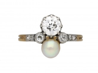 Edwardian diamond and pearl two stone ring berganza hatton garden