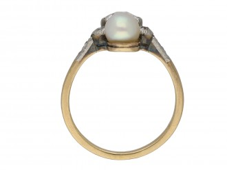 Edwardian diamond and pearl two stone ring berganza hatton garden