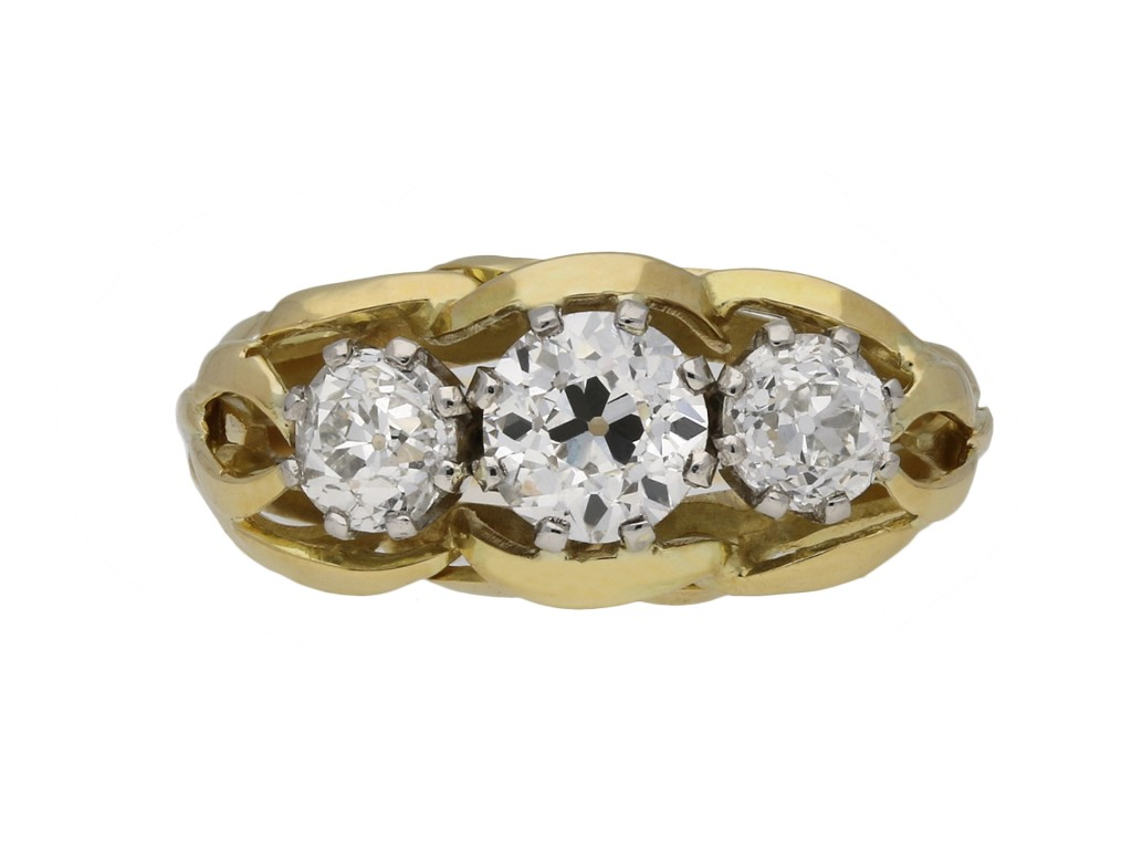 Vintage three stone diamond ring berganza hatton garden