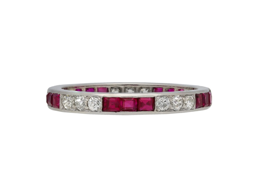 Art Deco ruby diamond full eternity ring berganza hatton garden
