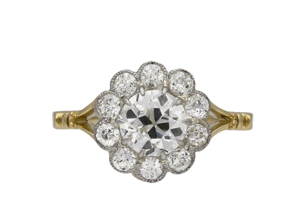 Edwardian diamond coronet cluster ring berganza hatton garden
