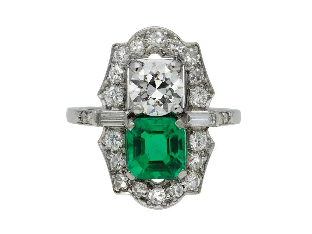 Colombian emerald diamond two stone cluster ring hatton garden