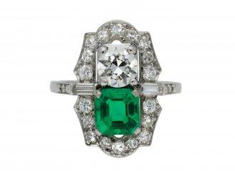 Colombian emerald diamond two stone cluster ring hatton garden