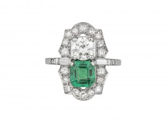 Colombian emerald and diamond two stone cluster ring, American, circa 1935.