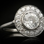 Antique diamond target ring, circa 1920.