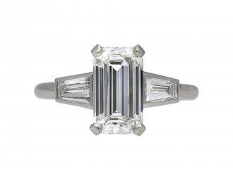Vintage diamond flanked solitaire ring berganza hatton garden