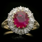 Edwardian Burmese ruby and diamond coronet cluster ring, English, circa 1910.