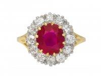Edwardian Burmese ruby diamond cluster ring berganza hatton garden