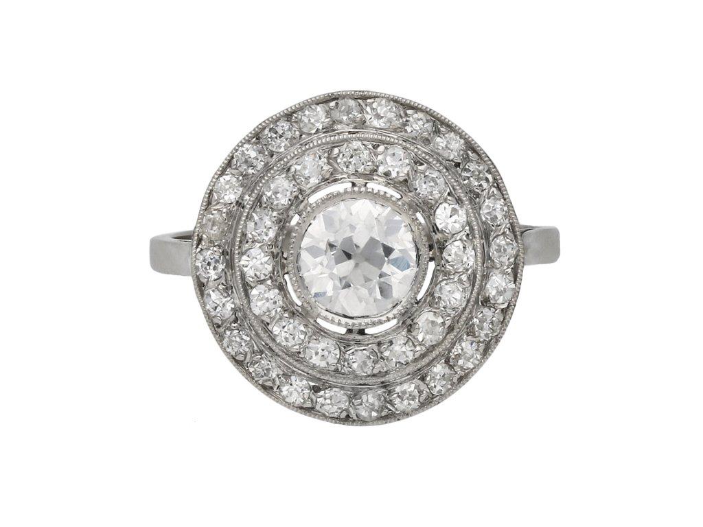 Antique diamond target ring berganza hatton garden