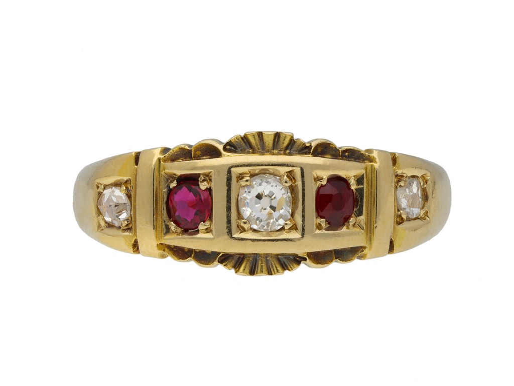 Victorian five stone diamond and ruby ring berganza hatton garden