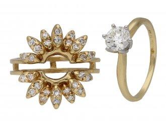 A pair of vintage diamond rings, circa 1960.
