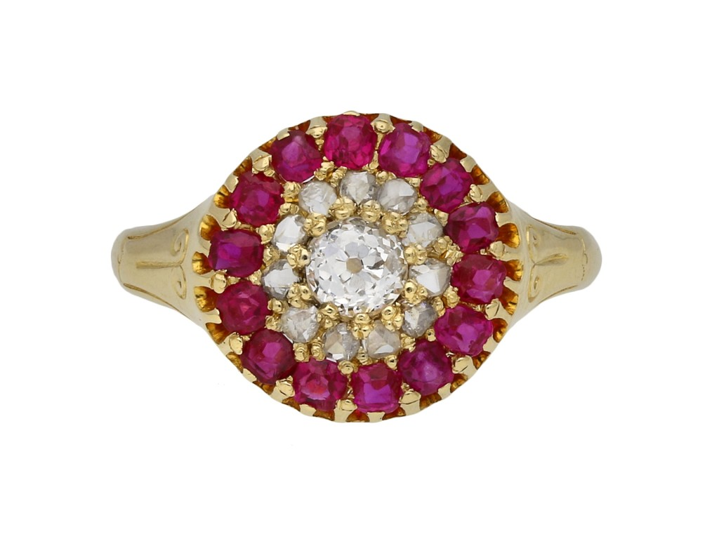 Victorian diamond and ruby cluster ring berganza hatton garden