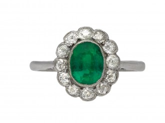 Edwardian Colombian emerald diamond ring berganza hatton garden