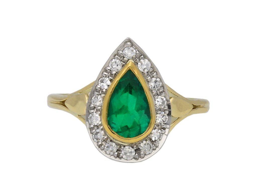 Emerald and diamond cluster ring berganza hatton garden