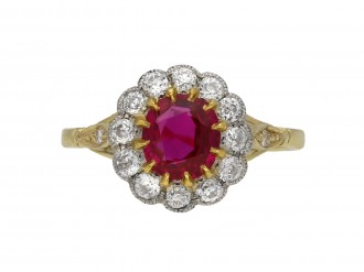 Edwardian Burmese ruby diamond cluster ring berganza hatton garden