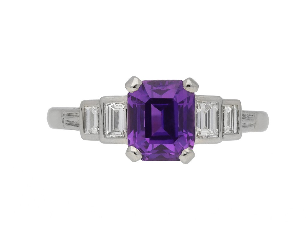 purple Ceylon sapphire diamond ring berganza hatton garden
