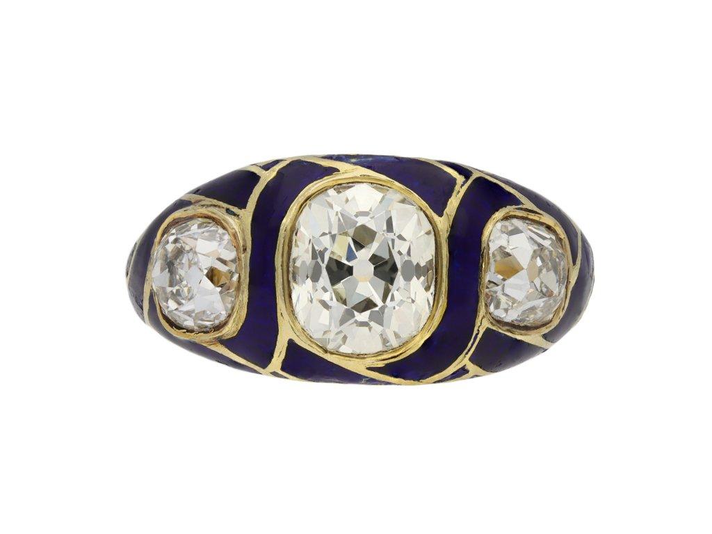 Victorian diamond blue enamel ring berganza hatton garden