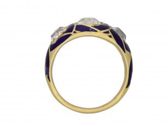 Victorian diamond blue enamel ring berganza hatton garden