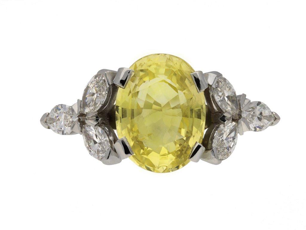 yellow Ceylon sapphire diamond ring berganza hatton garden