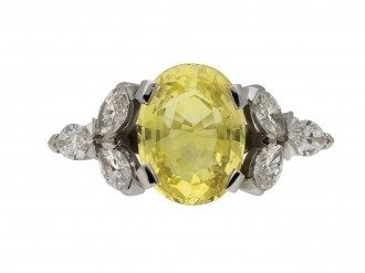 yellow Ceylon sapphire diamond ring berganza hatton garden
