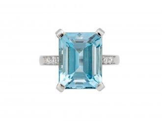 Aquamarine and diamond ring, circa 1950.