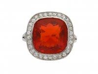 Edwardian fire opal diamond cluster ring berganza hatton garden