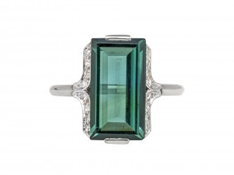 Art Deco tourmaline and diamond ring berganza hatton garden