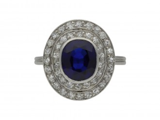 Belle Époque sapphire diamond cluster ring berganza hatton garden