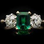 Edwardian Colombian emerald and diamond three stone ring, circa 1910.