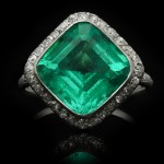 Edwardian Colombian emerald and diamond coronet cluster ring, French, circa 1910.
