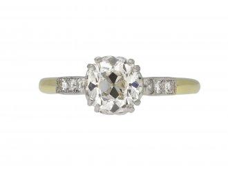 Edwardian diamond flanked solitaire ring berganza hatton garden