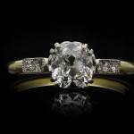 Old mine diamond flanked solitaire ring, English, circa 1910.