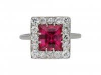 Art Deco pink spinel and diamond ring berganza hatton garden