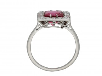 Art Deco pink spinel and diamond ring berganza hatton garden