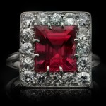 Art Deco pink spinel and diamond coronet cluster ring, circa 1920.