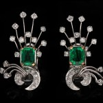 Colombian Emerald and diamond earrings, English, circa 1940.