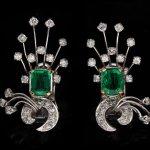 Colombian Emerald and diamond earrings, English, circa 1940.