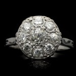 Antique diamond cluster ring, French, circa 1920.