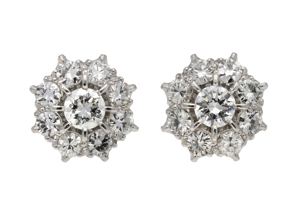 Old cut diamond cluster earrings berganza hatton garden