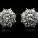 Old cut diamond cluster earrings, circa 1930.