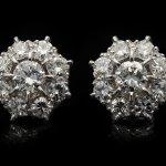 Old cut diamond cluster earrings, circa 1930.