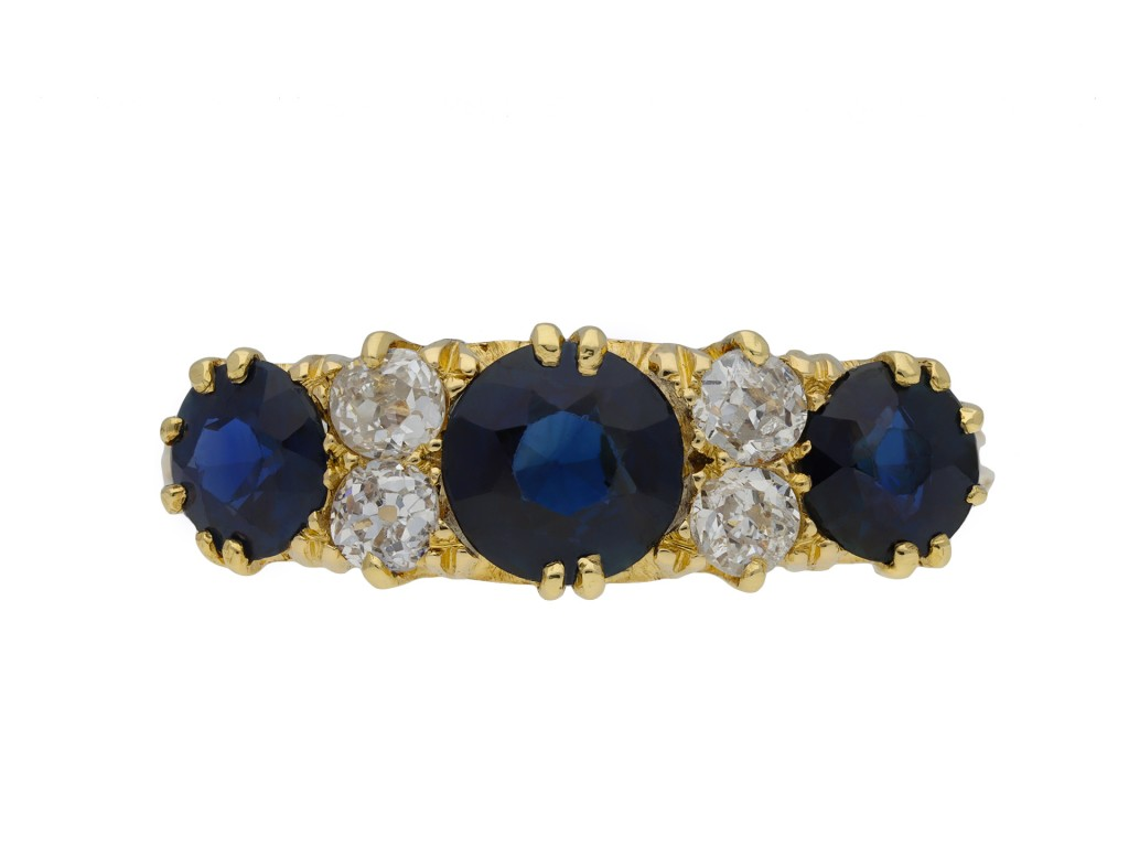 Sapphire and diamond five stone ring hatton garden