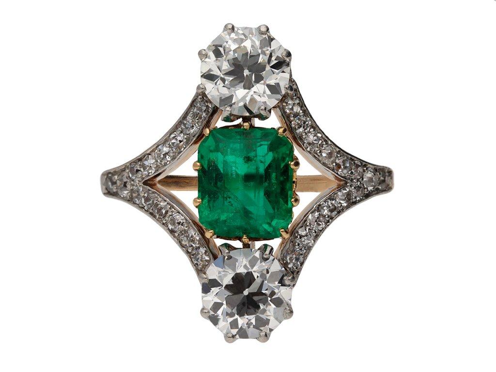 Colombian emerald diamond cluster ring berganza hatton garden