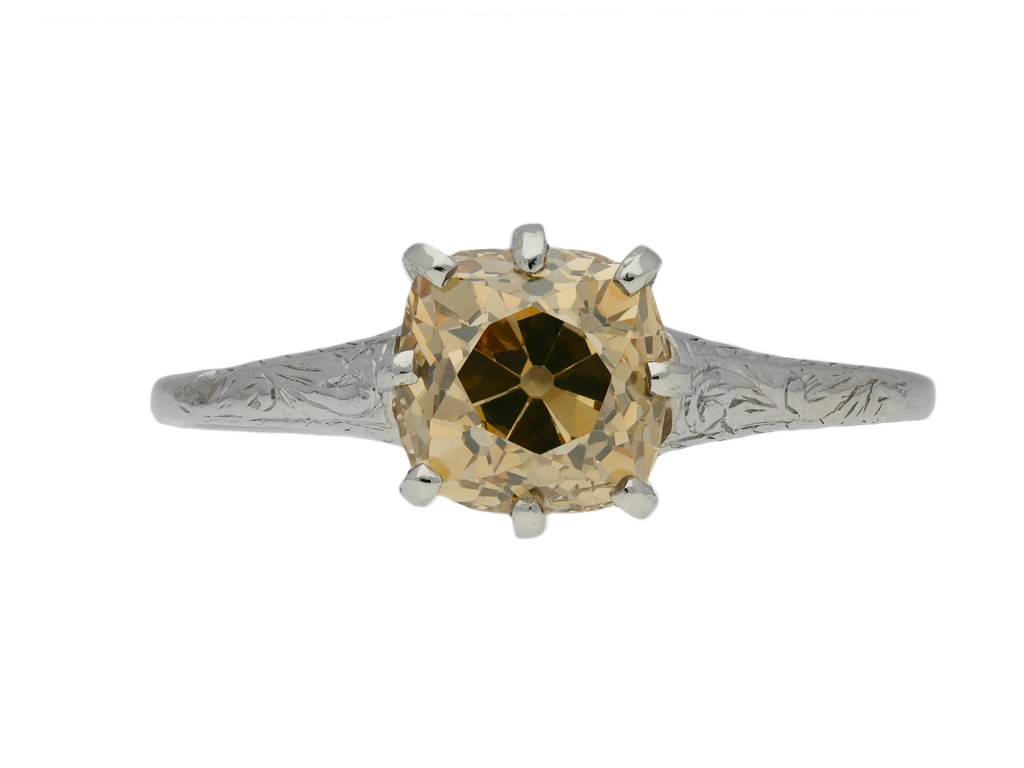 Antique fancy colour diamond solitaire ring berganza hatton garden