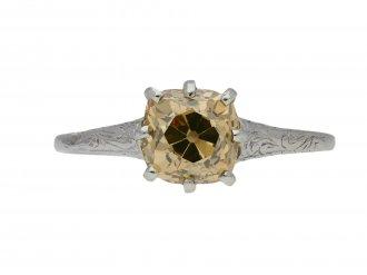 Antique fancy colour diamond solitaire ring berganza hatton garden