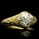 Old mine diamond carved solitaire ring, French, circa 1890.