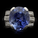 Ceylon sapphire and diamond ring, circa 1920.