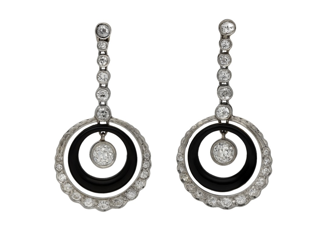 Art Deco Onyx and diamond earrings berganza hatton garden